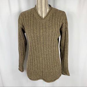 GAP Chunky Ribbed Knit V-Neck Pullover Sweater